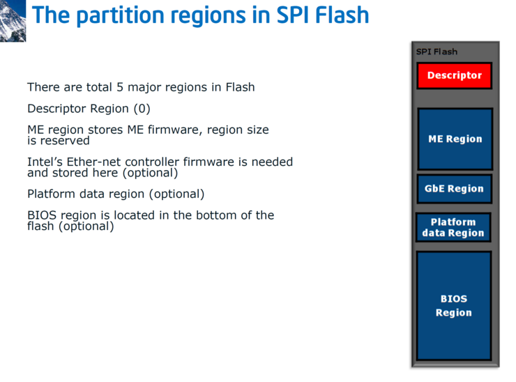 Partition regions in SPI flash